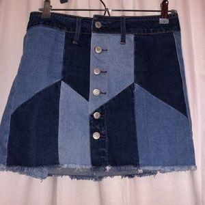 American Eagle High-Waisted Festival Denim Skirt